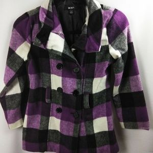 BCX Girls Purple Plaid Winter Coat Jack